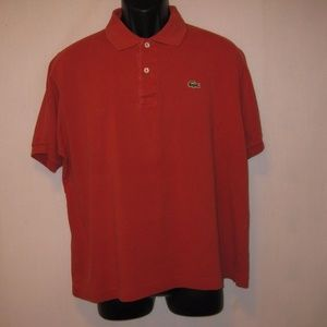 Lacoste Red Short Sleeve Polo Shirt Size 5 Cotton
